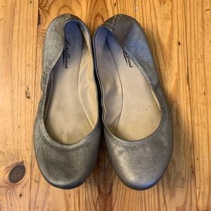 Pewter leather ballet fats